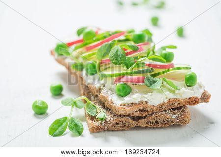 Bio Sandwich With Fromage Cheese, Avocado And Crunchy Bread