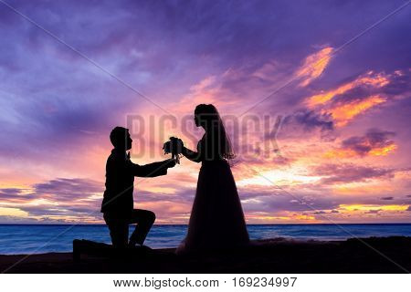 Bride and Groom at Sunset Romantic Married Couple at the beach