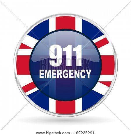 number emergency 911 british design icon - round silver metallic border button with Great Britain flag