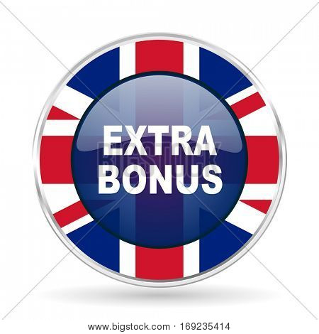 extra bonus british design icon - round silver metallic border button with Great Britain flag