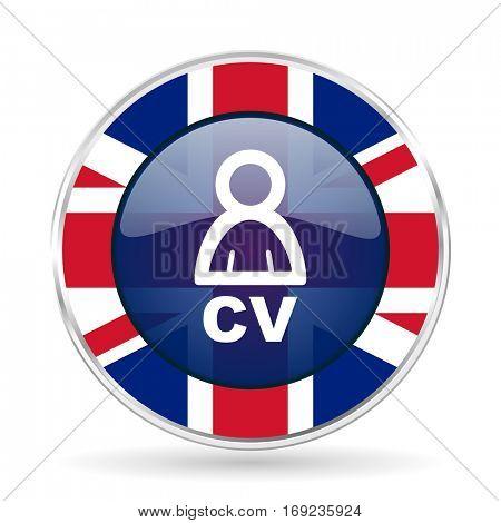 cv british design icon - round silver metallic border button with Great Britain flag