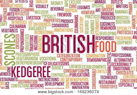 British Food and Cuisine Menu Background with Local Dishes