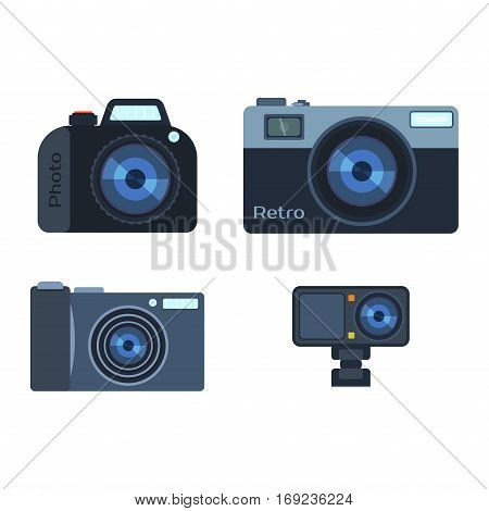 Camera photo optic lense on white background. Different types objective retro equipment, professional look. Digital vintage technology electronic aperture device.
