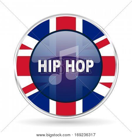 hip hop british design icon - round silver metallic border button with Great Britain flag