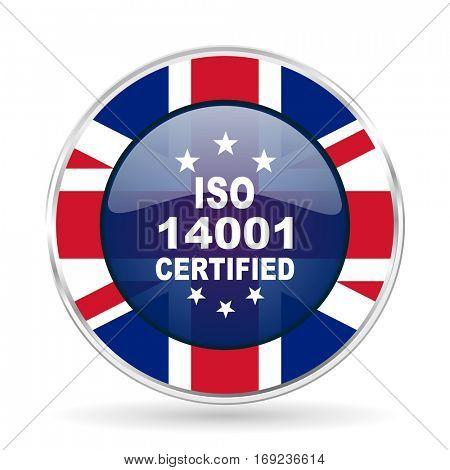 iso 14001 british design icon - round silver metallic border button with Great Britain flag