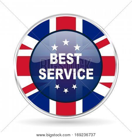 best service british design icon - round silver metallic border button with Great Britain flag
