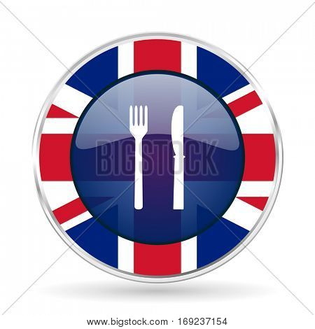 eat british design icon - round silver metallic border button with Great Britain flag