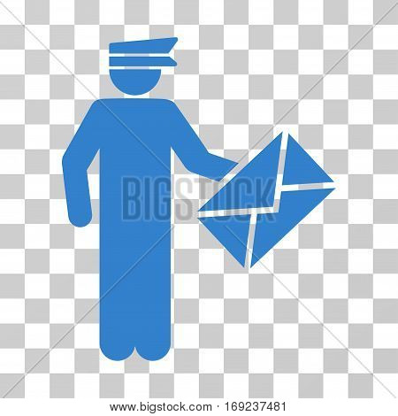 Postman icon. Vector illustration style is flat iconic symbol cobalt color transparent background. Designed for web and software interfaces.