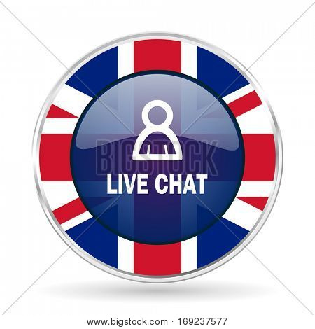 live chat british design icon - round silver metallic border button with Great Britain flag