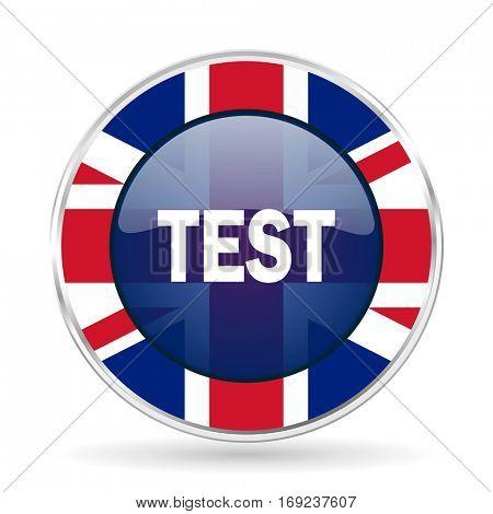 test british design icon - round silver metallic border button with Great Britain flag