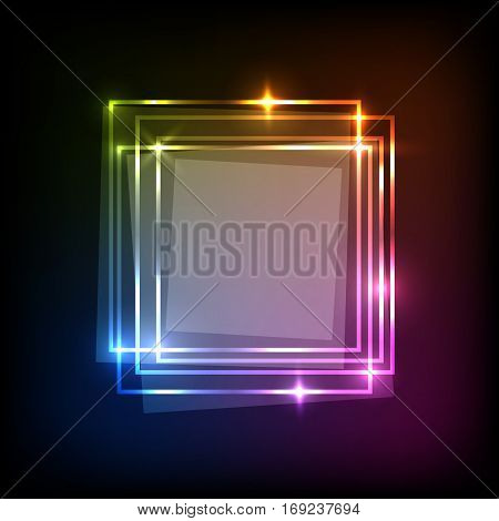 Abstract neon colorful background with squares banner, stock vector