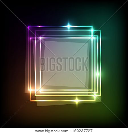 Abstract background with neon colorful squares banner, stock vector