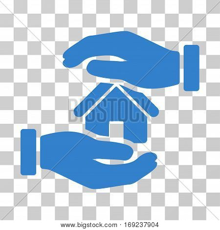 Realty Insurance icon. Vector illustration style is flat iconic symbol cobalt color transparent background. Designed for web and software interfaces.