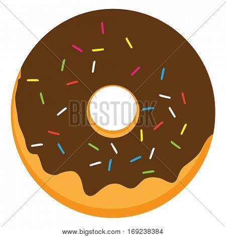 Chocolate glazed ring donut with colorful sprinkles. Vector illustration