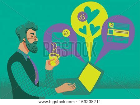 Concept of business and social networking. Businessman hipster checking his messages, likes an e-mails on his laptop, while drinking cofee.