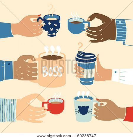 Close up of multiethnic business hands holding coffee symbolising working together towards common interests.