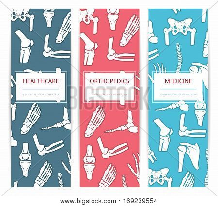 Medicine, health care and orthopedics banner template set. Medical and diagnostic clinic, rehabilitation health center card design with bones of foot, hand, spine, knee, pelvis and shoulder joints