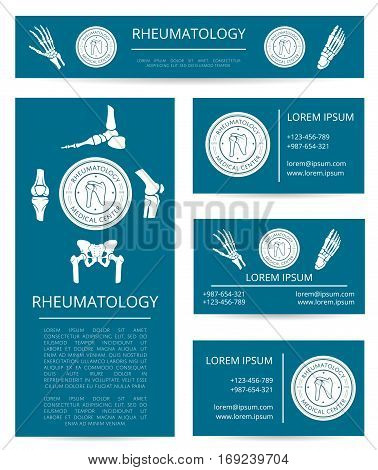 Medicine center of rheumatology banner and card template set. Hand, foot, knee, shoulder and pelvis joints with round clinic stamp and text layout. Diagnostic clinic and rehabilitation center design