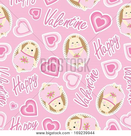 Valentine seamless pattern with cute hedgehog and love shape on pink background suitable for Valentine wallpaper, scrap paper and fabric