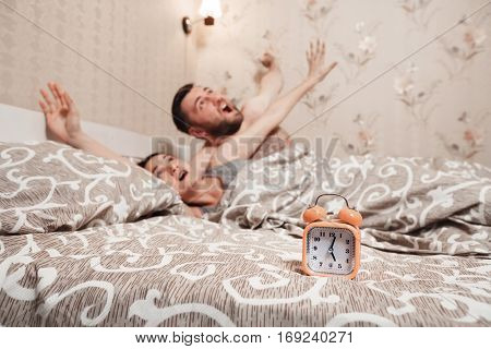 Young couple wakeup in the bed