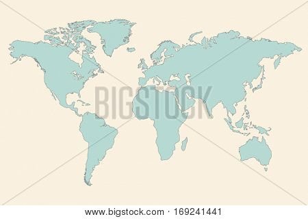 World map illustration on a tan background