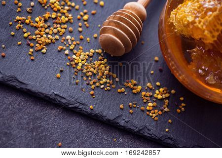 honey bee product pollen propolis on the table