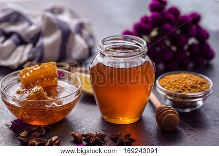 healthy honeycomb and honey product of bee