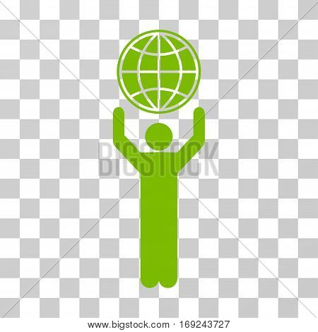 Globalist icon. Vector illustration style is flat iconic symbol eco green color transparent background. Designed for web and software interfaces.