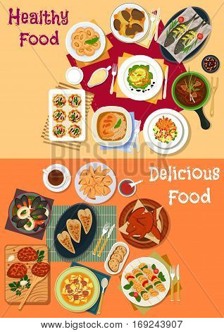 Seafood and meat dishes for dinner menu icon with baked fish, chicken, turkey and rabbit, salads with salmon, ham, vegetable and crayfish, seafood stew, meatball, beef stew, almond and fortune cookie