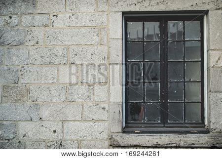 winter season brick wall texture background with glass window for interior or exterior brick wall building decoration texture background