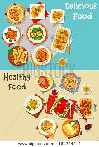 Healthy food for lunch icon set of baked stuffed vegetables with cheese, grilled fish, fried pork, chicken noodle, meat roll with ham, shrimp pasta, spinach lasagna, turkey leg with berry sauce