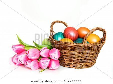 Basket with Easter eggs and tulips bunch isolated on white