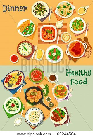 Healthy lunch and dinner icon set with italian tomato soup and pasta, vegetable salad, german pork with cabbage, baked fish, meatloaf and potato with bacon, rice soup with cheese, chicken patty