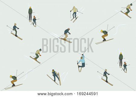 WINTER SKI PATTERN DESIGN. Editable and repeatable vector illustrator file.
