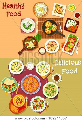 Healthy lunch dishes with fruit dessert icon set of fish dishes with vegetables and rice, vegetable cold soup, salads with chicken, cheese, olive, pork, egg and zucchini, chilli corn soup, apricot pie