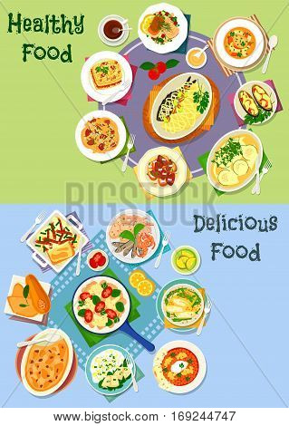 Nutritious dinner icon set of vegetable casserole with meat, cheese and sausage, grilled seafood, fried fish with veggies salad, pasta with liver, pumpkin lasagna, cheese roll, fish soup, liver toast