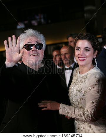 Pedro Almodovar, Adriana Ugarte  attend the screening of 'Julieta' at the 69th Cannes Festival at Palais on May 17, 2016 in Cannes, France.