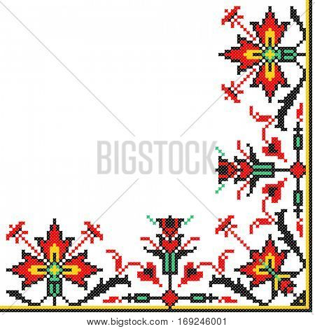 embroidered good like old handmade cross-stitch ethnic Ukraine pattern. Ukrainian serviette with ornament in vector