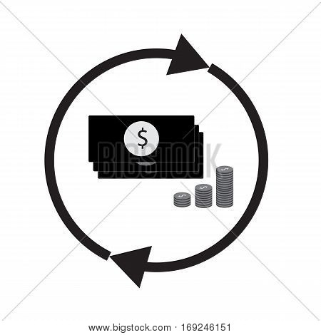money conversion on white background. money convert sign.