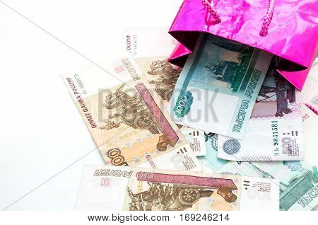 Color Package And A Lot Of Russian Banknotes