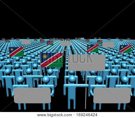 Crowd of people with signs and Namibian flags 3d illustration