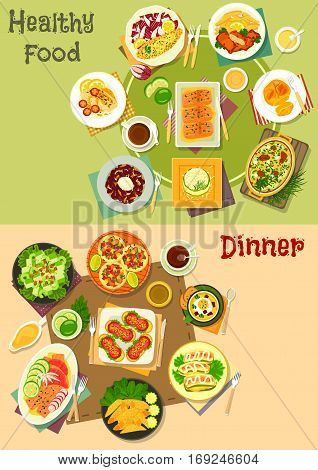 Main dishes with appetizers icon set with baked fish with vegetable and cream sauce, tuna, veggies, cheese and bean salad, meat tortilla roll, sausage sandwich, fish souffle, zucchini cheese casserole