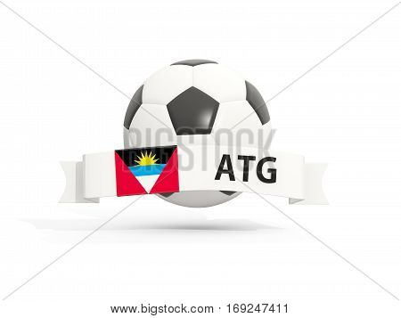 Flag Of Antigua And Barbuda, Football With Banner And Country Code