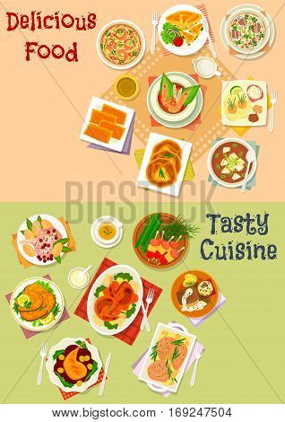Fish and meat dish with asian soup and pastry icon set of meat and fish baked in sauce with vegetables, asian soup with rice, noodle, shrimp, tofu and beef, meat and cheese pie, sausage snack on stick