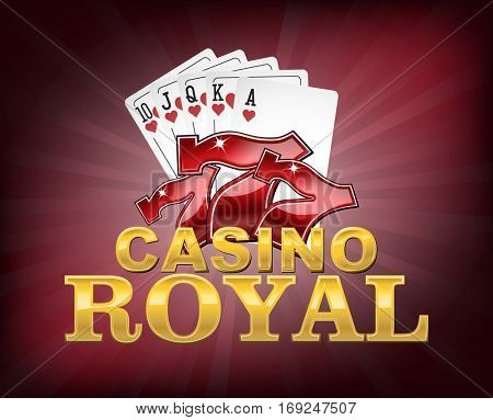 Casino Royal with lucky seven and poker cards