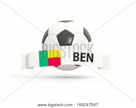 Flag Of Benin, Football With Banner And Country Code