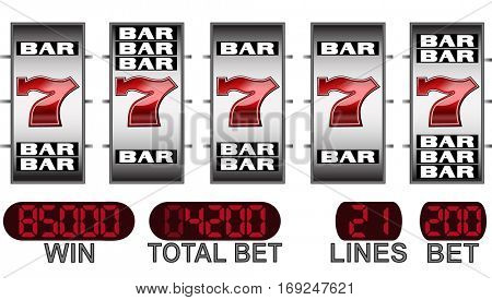 lucky seven and bars slot machine big win