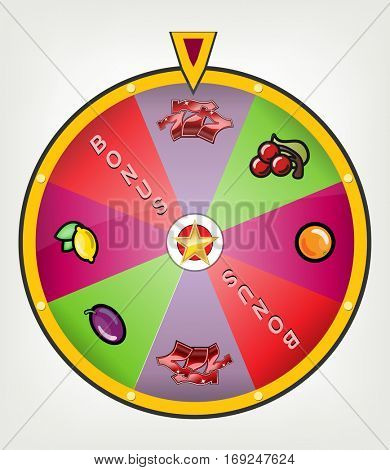 Lucky wheel with casino symbols