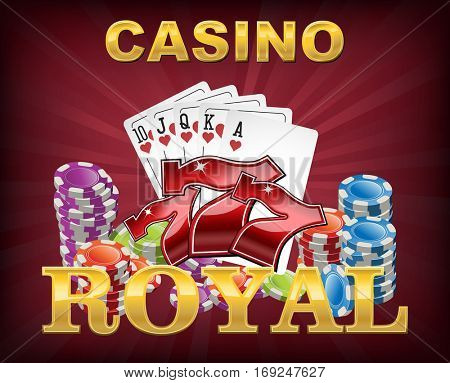 Casino chips and cards with lucky seven font