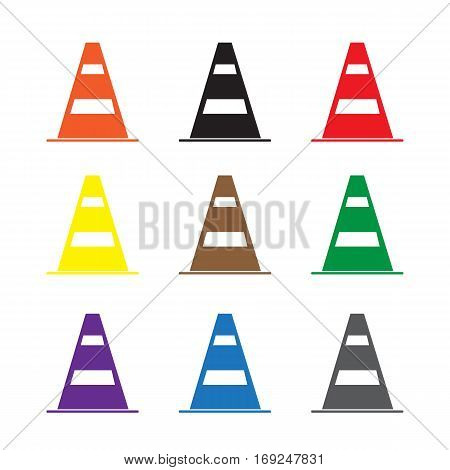 set construction barrier icon on white background. construction barrier sign.